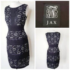 JAX Tiered Lace Zip Black Cocktail Dress